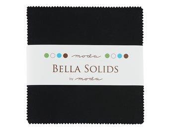 Moda  Bella Solids Black Charm Pack- (42) 5 inch