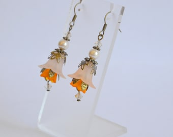 Orange bronze hand dyed lucite flower Swarovski crystal and pearl earrings, vintage style earrings, flower earrings, handmade earrings