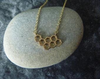 Golden honey bee necklace