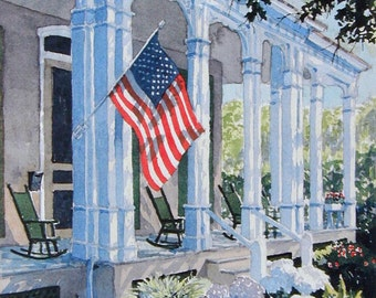 """Cape May New Jersey, Watercolor Limited Ed. Art Print Matted to 11"""" x14"""",  landscape, American Flag"""