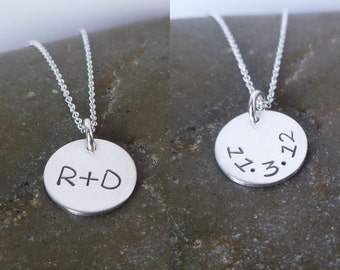 "Initial Necklace - Half Inch 1/2"" Double Sided Sterling Silver Disc - Couple - Date on Back - Initial Plus Initial - Wedding Gift"