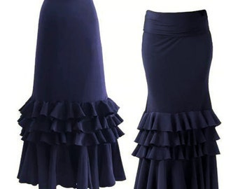 Skirt of silk with spandex knitted trial