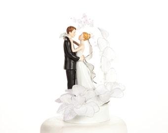 Vintage Glitter Flower Wedding Cake Topper - Custom Painted Hair Color Available - 101763