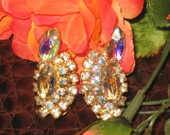 Aurora Borealis Earrings, Clip On Rhinestone Earrings, Bling, Gold Tone, Vintage Clip On Earrings, Clip on Jewels, Aurora Borealis