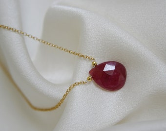 Chain with ruby Briolette faceted pendant gold plated Silver925 necklace with ruby pendant gilded Silber925