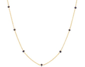 Delicate Gold and Lapis Lazuli Chain Necklace - 16in. Necklace - 14k Gold Filled - Small Faceted Blue Lapis Lazuli Gemstones - Gold Chain