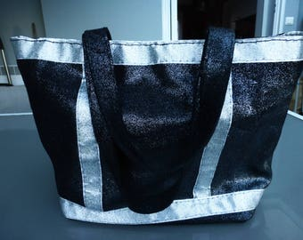 silver glitter with applications black nubuck leather tote bag