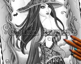 Adult Coloring Page - Grayscale Coloring Page Pack - Printable Coloring Page - Digital Download - Fantasy Art - CASSIA - Nikki Burnette