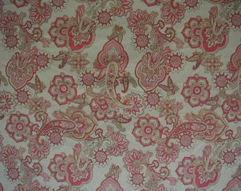 """Duvet Cover, Full-Queen Bed Size, Pink and Lt Green Paisley Print on White Ground, 88"""" wide x 85"""" long,  Cottage Chic, Cotton Fabric"""