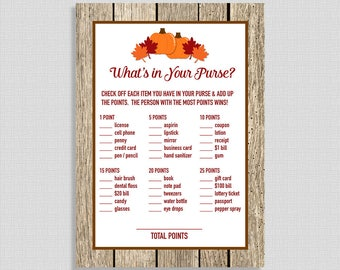 What's In Your Purse Baby Shower Game, Pumpkin, Rustic Fall Leaves, Autumn Shower Game, DIY Printable, INSTANT DOWNLOAD