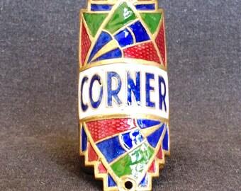 Vintage Corner bike badge collector enamel plate.