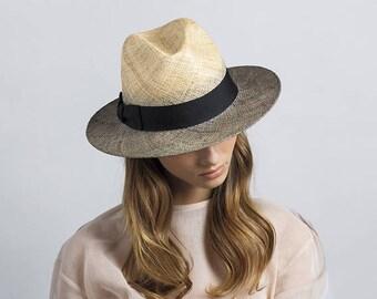 Two tone straw hat , Fedora straw hat ,  Fedora straw hat for women, straw hat for men, Summer hats , Sun Hat , Beach hat