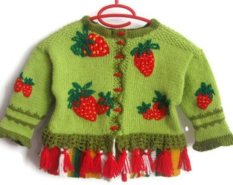 Hand Knitted Children Green Cardigan with Embroidered Strawberries, Knit, Strawberry Fields, Wool Sweater 3 y girl by Solandia