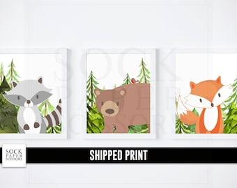 Forest Animal Print, Nursery Woodland Animal Prints, Forest Animal Nursery Art, Woodland Animal Decor, Fox Art, Nursery Set of 3, SKU-RNA116