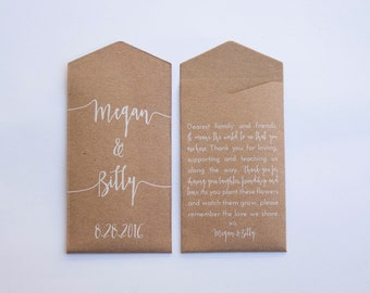 Kraft & White Custom Seed Packet Wedding Favors - Rustic Seed Packet - Vintage Wedding Favor - Personalized Favor - Many Colors Available