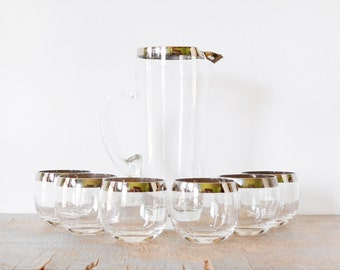 mad men cocktail set, silver roly poly glasses, vintage 60s cocktail glasses, dorothy thorpe glasses, silver rim glasses