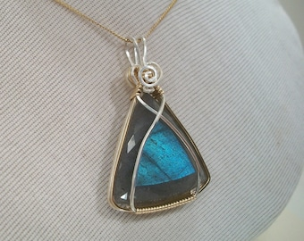 Blue Faceted Labradorite 14KGF and Sterling Silver Wire Wrapped Pendant PW116