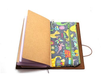 Zippered Insert for Midori Travelers Notebook, Standard Size, Personal Size, Passport Size, Micro Size - BackYard Friends