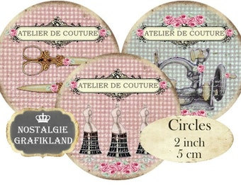 Shabby Chic Sewing Dressform Sewing Machine Scissors Circles 2 inch Instant Download digital collage sheet C236