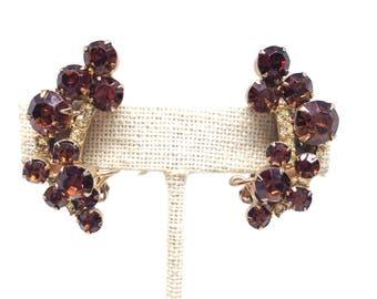 Juliana Verified DE Rhinestone Gold Tone Vintage Estate Earrings Christmas Present - Holiday Gift