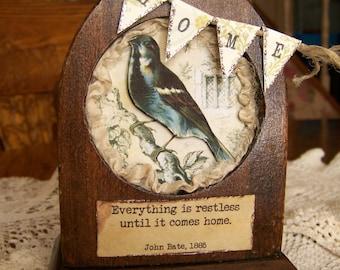 Altered Antique Clock Case  Assemblage Vintage  Decor Vintage Bird Display Vintage Spring Summer Decor Antique Aqua Decor Vintage Shadow Box