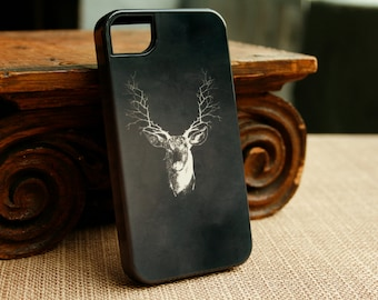 Deer iPhone 7 Case, Branch Antlers iPhone 6S, Stag iPhone 7 Plus Cover, Woodland Samsung Galaxy S6 Edge, Mens iPhone SE Case Fathers Day