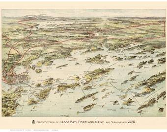 Casco Bay 1906 Birds Eye View - Maine Map Reprint