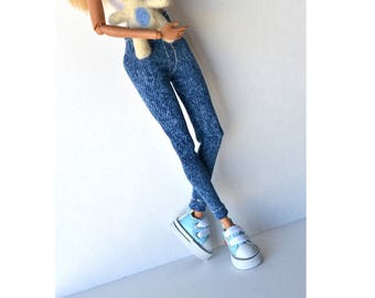 Barbie Denim leggings (white seam) -stretch denim leggings, barbie clothes, fashion doll clothes, white seam jeans