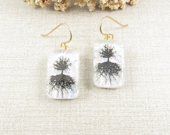 White Tree of Life Earrings - Dichroic Glass Tree Earrings - Fused  Dichroic Fused Glass Dangle Earrings with Gold Filled Ear Wire