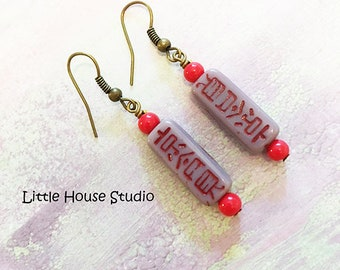 Good Luck Symbol Earrings, Chinese Symbol Earrings, Czech Glass, Good Luck Earrings, Dangle  Drop Earrings, Good Luck Charms, Asian Jewelry