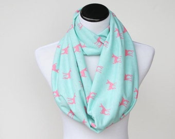 Deer Scarf Mint Pink Scarf Infinity Scarf for Women Toddler Infant Scarf Matching scarf for mom & child circle scarf fawn deer loop scarf f