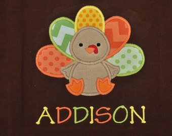 Personalized Cute Applique Turkey Baby Bodysuit
