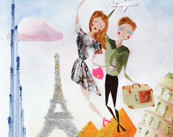 Custom Portrait - Personalized Illustration - Traveling Couple - Original Mixed-Media