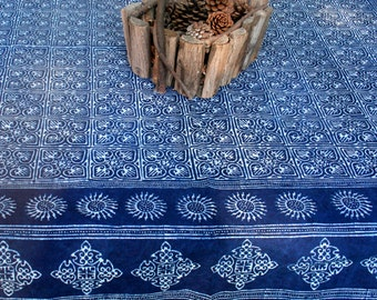 Square Blue Tablecloth In Hmong Indigo Batik Naturally Dyed Cotton, 60, 75 Or 90 Inch, Blue And White Table Cloth - Free Worldwide Shipping