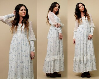 On Sale 70s Vtg Gunne Sax CORSET White Floral Maxi Dress / POET Long Sleeve Sexy Bodice BOHO Hippie Festival Fairy Lolita / Xxs Xs