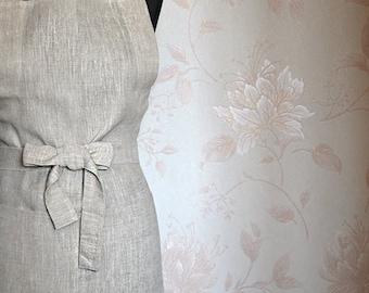 Tan Full Apron Natural Linen Apron Light Grey Linen Apron With One Big Pocket, Eco Friendly Linen Apron Garden apron