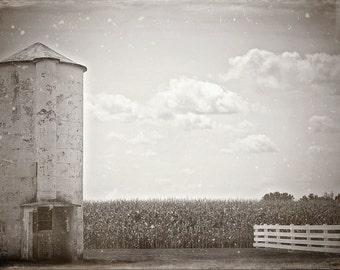 Black and White Photograph, Farm art, vintage Photo, Farm Photography, Rural art, Farm Print, Wet Plate, Fine Art Photography