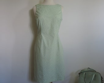 JONES NEW YORK  90's Wiggle Dress Mint Green Sun Dress Floral Rose Buds Cotton Stretch Deadstock size 6