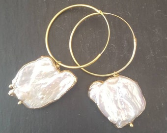 Baroque pearls earrings, silver
