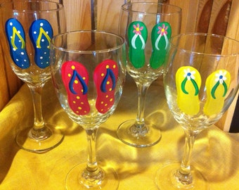 Flip Flop Wine Glasses Set/4