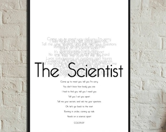 The Poster Scientist Coldplay. Print 30 x 42 cm. Typographical printing. Scandinavian style print. Gift Idea. Nordic style. Musical quotation.