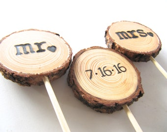 Wedding Cake Topper | Custom Wood Slice | Rustic