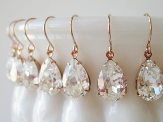 Bridesmaid Earrings set of 5 pairs Crystal Rose Gold Plated Teardrop Earrings Vintage Style Earrings Bridal Earrings Art Deco Wedding