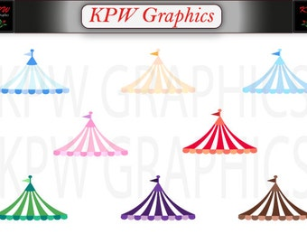 Circus Carnival Tent Top Set 2 (various colours) in PNG (300ppi) format Personal & Small Commercial use