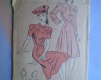 Vintage 40s Puff Sleeve Dress Pattern 30 25 33
