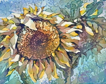 """Silk Painting Picture Sunflower. Original Painting on Silk. One of a kind Artwork. 6"""" x 8"""" (15 х 20 см.) Ready to ship."""