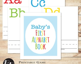 Build a Library Baby Shower Game Primary Colors // Baby's First Alphabet Book, interactive shower game, fun baby shower // Hewitt Avenue