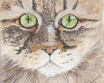 Cat face acrylic and ink