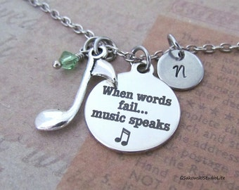 When words fail music speaks Music Note Charm Necklace, Personalized Hand Stamped Initial Birthstone Silver Music Charm Necklace