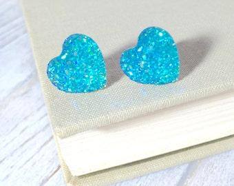 Faux Druzy Heart Earrings, Sparkly Earrings, Aqua Heart Earrings, Valentine's Earrings, Rock Star Jewelry, Stainless Steel (SE1)